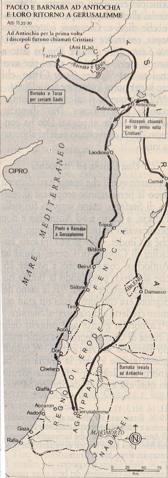 Paolo e Barnaba ad Antiochia e loro ritorno a Gerusalemme