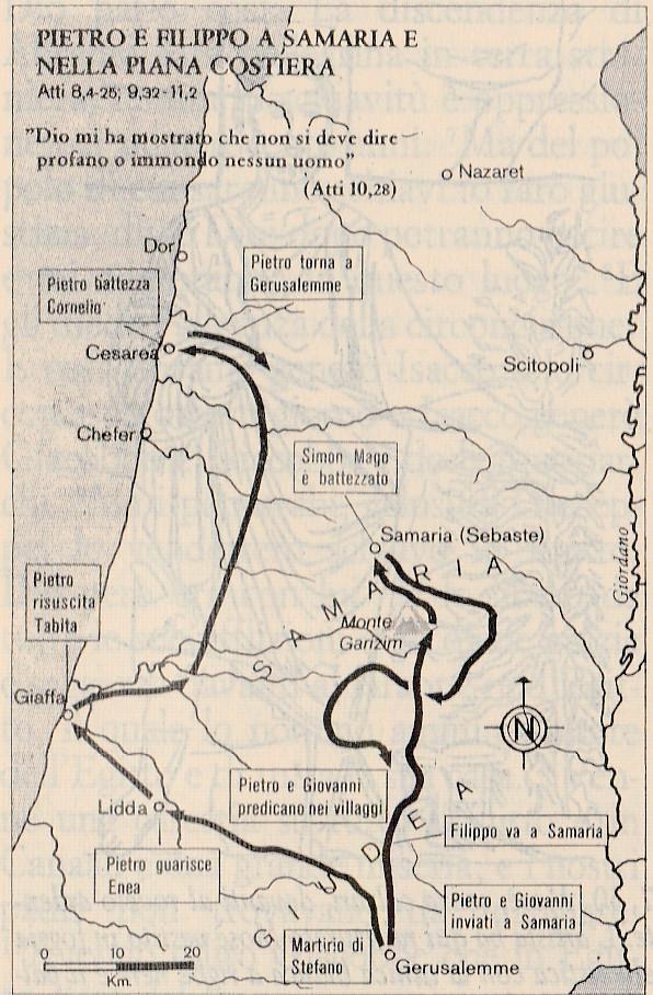 Pietro e Filippo a Samaria e nella piana costiera