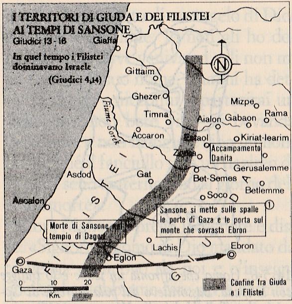 I territori di Giuda e dei filistei ai tempi di Sansone